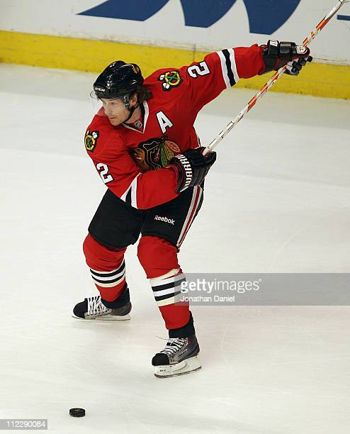 Duncan Keith of the Chicago Blackhawks winds up to shoot a powerplay goal in the 1st period against the Vancouver Canucks in Game Three of the...