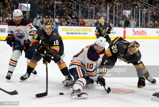 Duncan Keith of the Edmonton Oilers, Peyton Krebs of the Vegas Golden Knights, Derek Ryan of the Oilers and Chandler Stephenson of the Golden Knights...