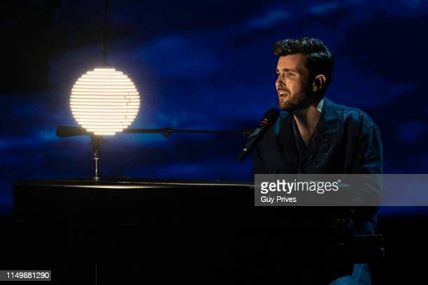Duncan Laurence from the Netherlands performs during the 64th annual Eurovision Song Contest held at Tel Aviv Fairgrounds on May 16 2019 in Tel Aviv...
