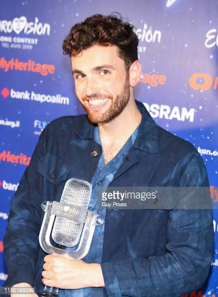 Duncan Laurence of The Netherlands attends a press conference during the 64th annual Eurovision Song Contest held at Tel Aviv Fairgrounds on May 18...