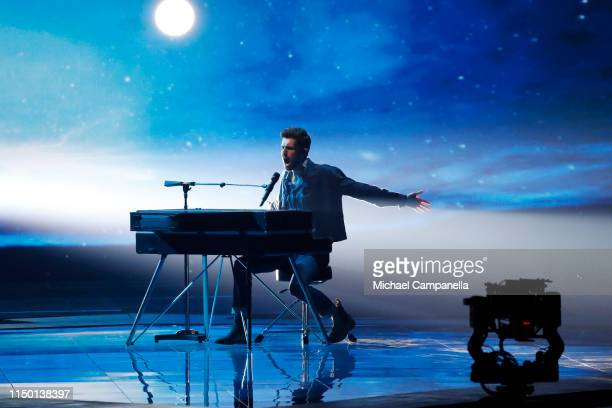 Duncan Laurence representing Netherlands performs live on stage during the 64th annual Eurovision Song Contest held at Tel Aviv Fairgrounds on May 18...
