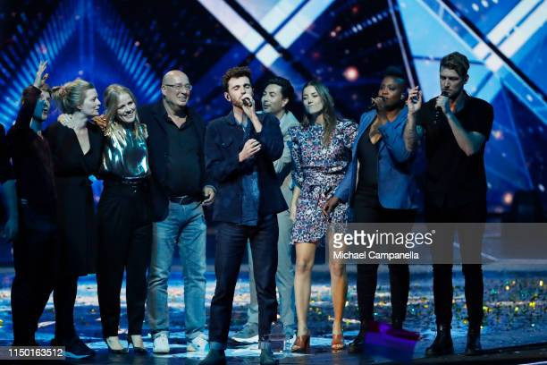Duncan Laurence representing The Netherlands performs live Arcade after winning the Grand Final of the 64th annual Eurovision Song Contest held at...