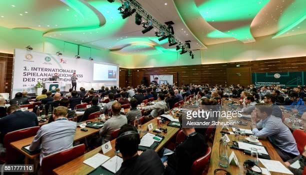 Duncan Locke and Carwyn Morgan hold a speech during the 1st international DFB congress on match analysis on November 29 2017 in Frankfurt am Main...