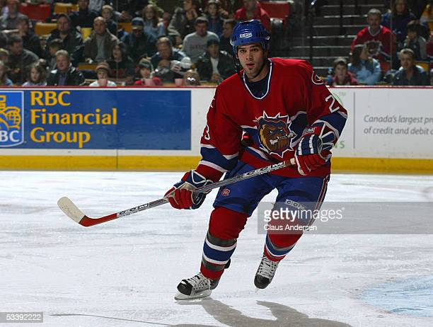 Duncan Milroy of the Chicago Wolves skates during a American Hockey League game against the Hamilton Bulldogs at Copps Coliseum on December 3 2004 in...