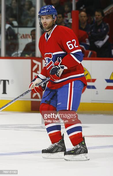 Duncan Milroy of the Montreal Canadiens skates against the Pittsburgh Penguins during a pre-season game on September 17, 2007 at the Bell Centre in...