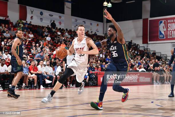 Duncan Robinson of the Miami Heat drives to the basket during the game against the Utah Jazz during Day 3 of the 2019 Las Vegas Summer League on July...