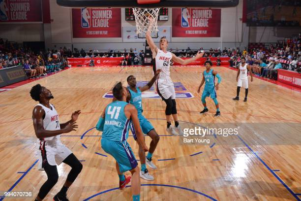 Duncan Robinson of the Miami Heat drives to the basket during the game against the Charlotte Hornets on July 8 2018 at the Cox Pavilion in Las Vegas...