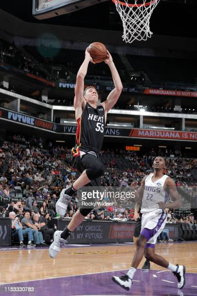 Duncan Robinson of the Miami Heat drives to the basket for dunk against the Sacramento Kings on July 2 2019 at Golden 1 Center in Sacramento...