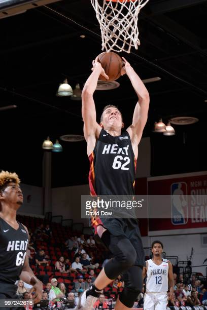 Duncan Robinson of the Miami Heat goes to the basket against the New Orleans Pelicans during the 2018 Las Vegas Summer League on July 12 2018 at the...