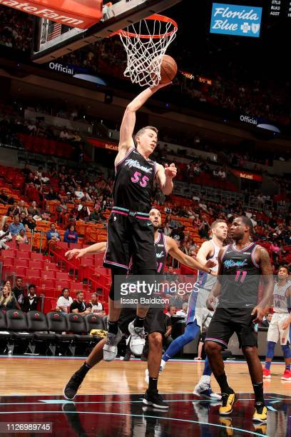 Duncan Robinson of the Miami Heat grabs the rebound during the game against the Detroit Pistons on February 23 2019 at American Airlines Arena in...