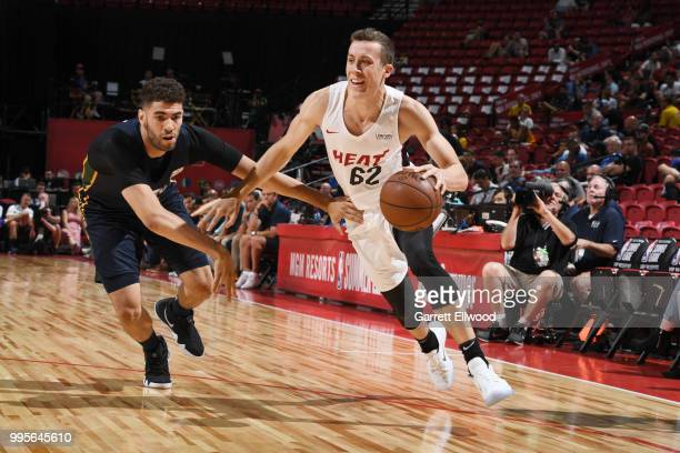 Duncan Robinson of the Miami Heat handles eh ball against the Utah Jazz during the 2018 Las Vegas Summer League on July 9 2018 at the Thomas Mack...