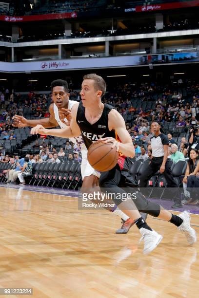 Duncan Robinson of the Miami Heat handles the ball against the Los Angeles Lakers during the 2018 California Classic Summer League on July 3 2018 at...