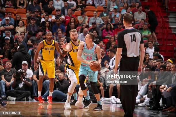 Duncan Robinson of the Miami Heat handles the ball against the Indiana Pacers on December 27 2019 at American Airlines Arena in Miami Florida NOTE TO...