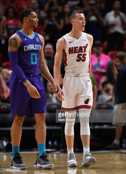 Duncan Robinson of the Miami Heat in actIon against the Charlotte Hornets at American Airlines Arena on March 17 2019 in Miami Florida NOTE TO USER...