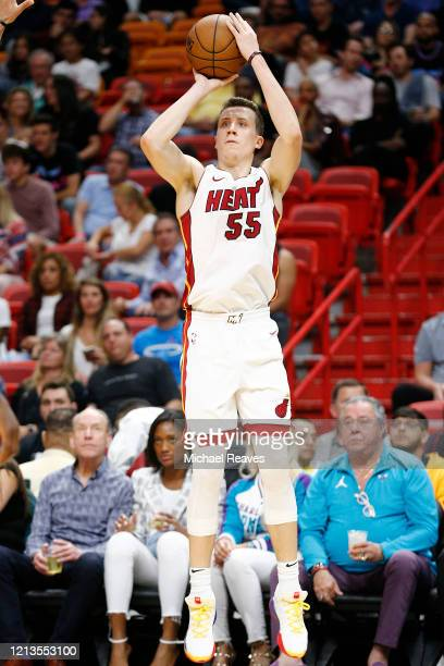 Duncan Robinson of the Miami Heat in action against the Charlotte Hornets during the second half at American Airlines Arena on March 11, 2020 in...