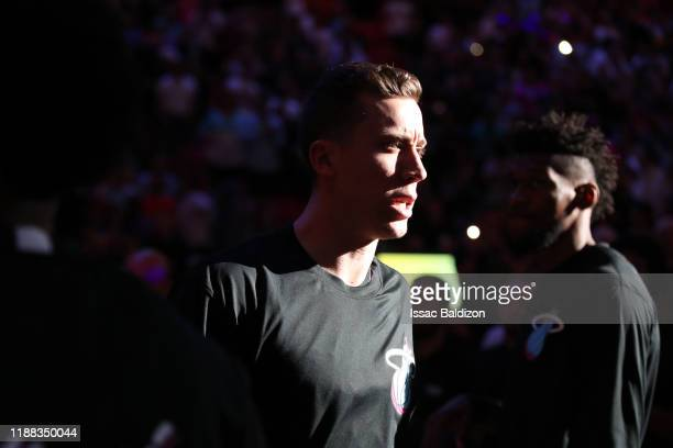 Duncan Robinson of the Miami Heat is announced before the game against the Los Angeles Lakers on December 13 2019 at American Airlines Arena in Miami...