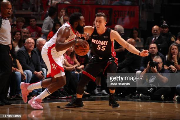 Duncan Robinson of the Miami Heat plays defense against James Harden of the Houston Rockets during a game on November 3 2019 at American Airlines...