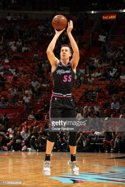 Duncan Robinson of the Miami Heat shoots a three point basket during the game against the Detroit Pistons on February 23 2019 at American Airlines...