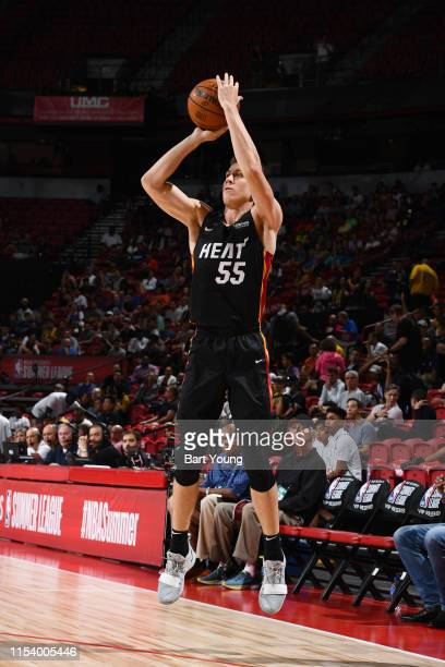 Duncan Robinson of the Miami Heat shoots a threepointer during the game against China during Day 1 of the 2019 Las Vegas Summer League on July 5 2019...