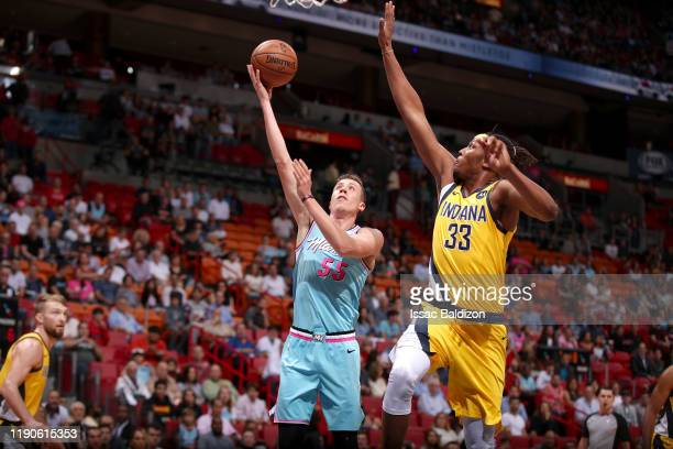 Duncan Robinson of the Miami Heat shoots the ball against the Indiana Pacers on December 27 2019 at American Airlines Arena in Miami Florida NOTE TO...