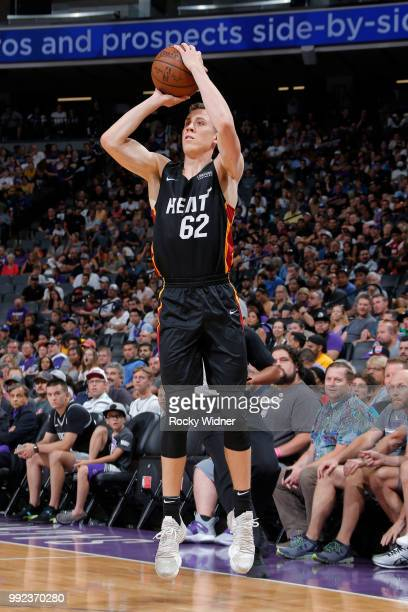 Duncan Robinson of the Miami Heat shoots the ball against the Sacramento Kings during the 2018 Summer League at the Golden 1 Center on July 5 2018 in...