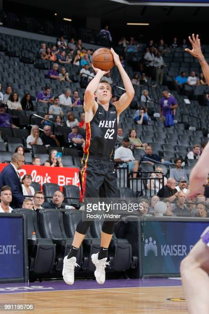 Duncan Robinson of the Miami Heat shoots the ball against the Los Angeles Lakers during the 2018 California Classic Summer League on July 3 2018 at...