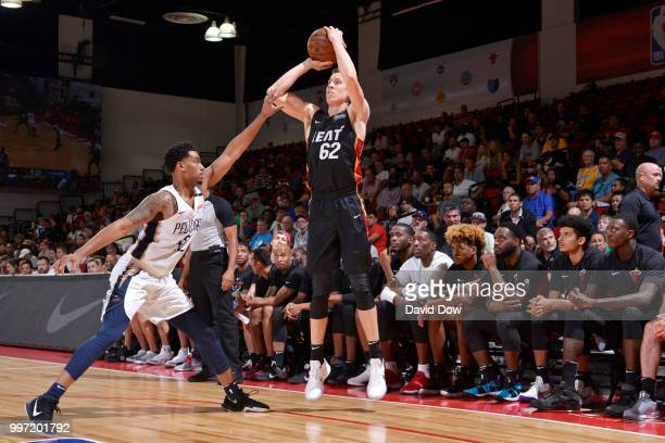 Duncan Robinson of the Miami Heat shoots the ball against the New Orleans Pelicans during the 2018 Las Vegas Summer League on July 12 2018 at the Cox...