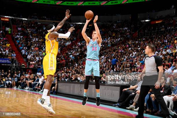 Duncan Robinson of the Miami Heat shoots the ball during a game against the Los Angeles Lakers on December 13 2019 at the American Airlines Arena in...
