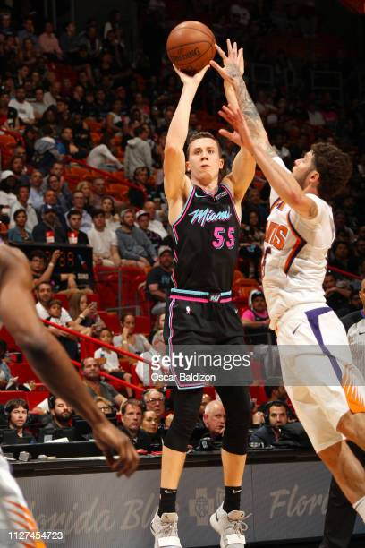 Duncan Robinson of the Miami Heat shoots the ball during the game against the Phoenix Suns on February 25 2019 at American Airlines Arena in Miami...