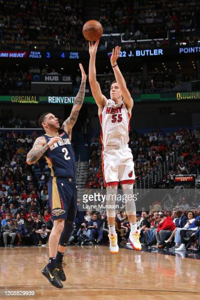 Duncan Robinson of the Miami Heat shoots three point basket against the New Orleans Pelicans on March 6 2020 at the Smoothie King Center in New...