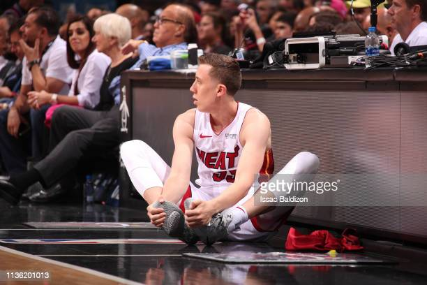 Duncan Robinson of the Miami Heat warms up before the game during the game against the Philadelphia 76ers on April 9 2019 at American Airlines Arena...