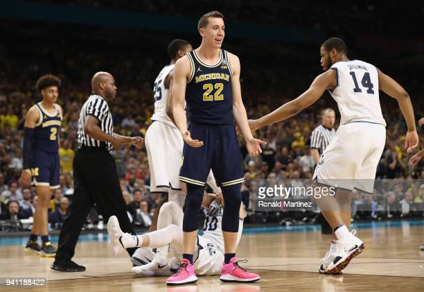 Duncan Robinson of the Michigan Wolverines reacts in the first half against the Villanova Wildcats during the 2018 NCAA Men's Final Four National...