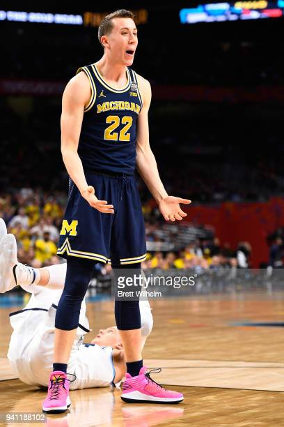Duncan Robinson of the Michigan Wolverines reacts to a call by the referee during the first half of the 2018 NCAA Photos via Getty Images Men's Final...
