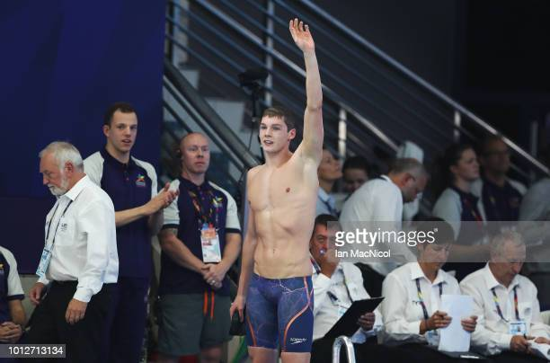 Duncan Scott of Great Britain celebrates winning during the 200m Freestyle Final on Day Six of the European Championships Glasgow 2018 at Tollcross...