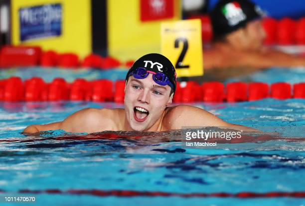 Duncan Scott of Great Britain reacts after he competes during the Men's 100m Freestyle final on Day Four of the European Championships Glasgow 2018...