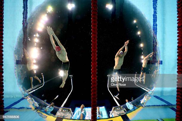 Duncan Scott of Scotland and James Guy of England compete during the Men's 200m Freestyle Final on day two of the Gold Coast 2018 Commonwealth Games...
