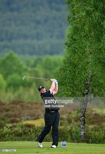 Duncan Stewart of Scotland in action on the 10th tee during the second round of the 2015 SSE Scottish Hydro Challenge at the MacDonald Spey Valley...