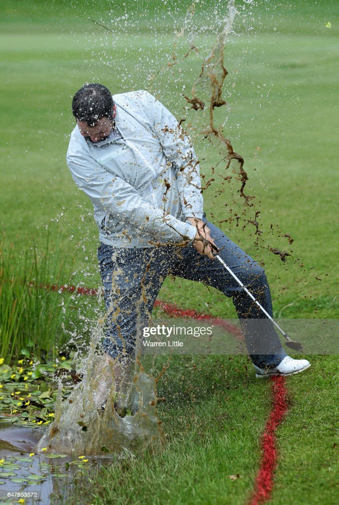 Duncan Stewart of Scotland plays out of the water on the third hole during the third round of the Tshwane Open at Pretoria Country Club on March 4, 2017 in Pretoria, South Africa.