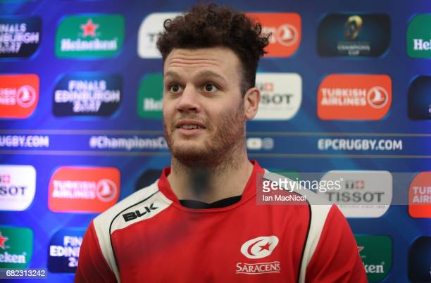 Duncan Taylor of Saracens speaks to the media during a press conference ahead of the ERC Champions Cup final between Gloucester and Stade Francais at...
