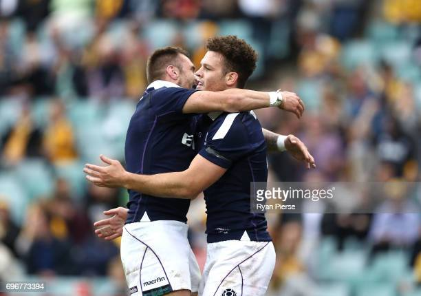 Duncan Taylor of Scotland celebrates after scoring a try during the International Test match between the Australian Wallabies and Scotland at Allianz...