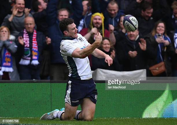 Duncan Taylor of Scotland celebrates after scoring his team's second try during the RBS Six Nations match between Scotland and France at Murrayfield...