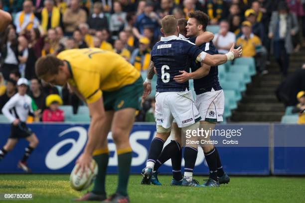 Duncan Taylor of Scotland scores a try during the International Test match between the Australian Wallabies and Scotland at Allianz Stadium on June...