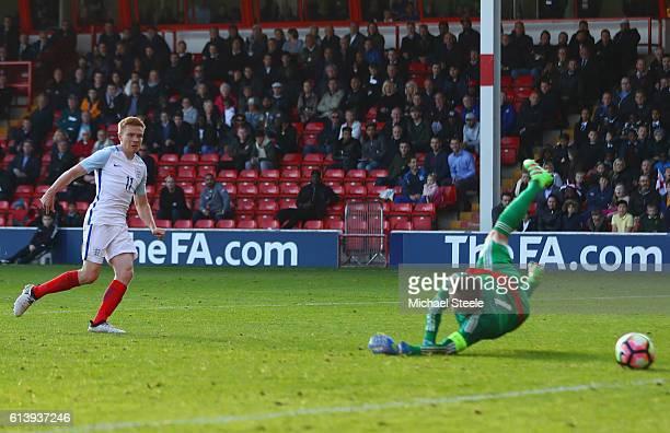 Duncan Watmore of England U21 scores their fourth goal past goalkeeper Kenan Piric of Bosnia and Herzegovina U21 during the UEFA European U21...