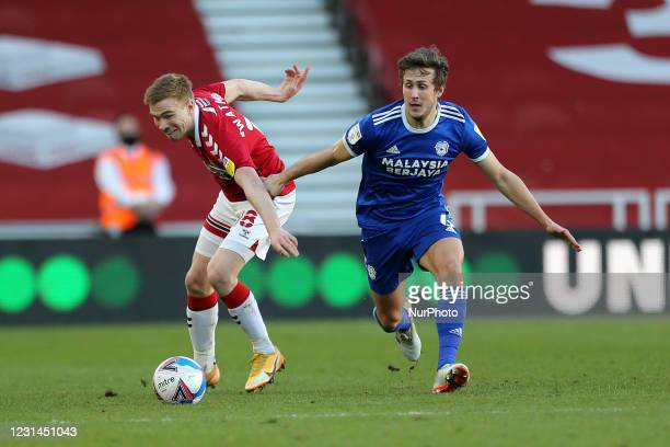 Duncan Watmore of Middlesbrough in action with Will Vaulks of Cardiff City during the Sky Bet Championship match between Middlesbrough and Cardiff...