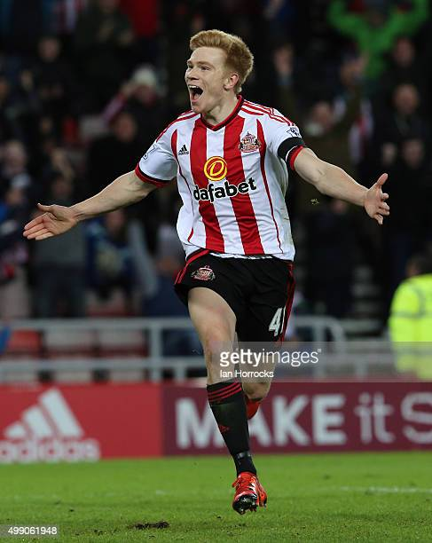 Duncan Watmore of Sundeland celebrates after he scored the second goal during the Barclays Premier League match between Sunderland AFC and Stoke City...
