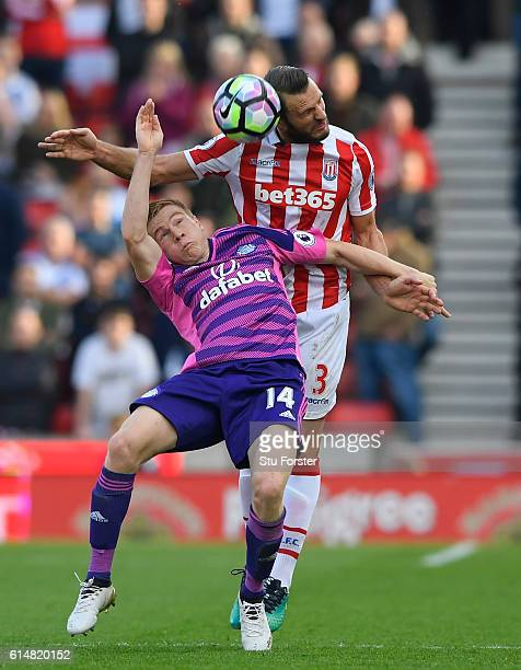Duncan Watmore of Sunderland and Erik Pieters of Stoke City battle for possession during the Premier League match between Stoke City and Sunderland...