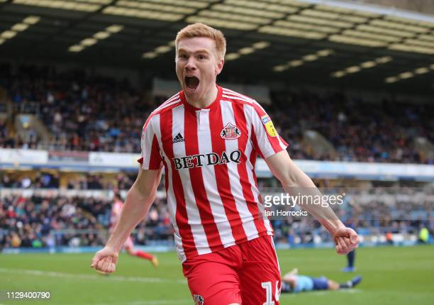 Duncan Watmore of Sunderland celebrates after he scores the equalising goal during the Sky Bet League One match between Wycombe Wanderers and...