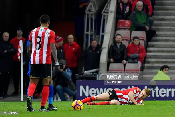 Duncan Watmore of Sunderland is injured during the Premier League match between Sunderland and Leicester City at Stadium of Light on December 3 2016...
