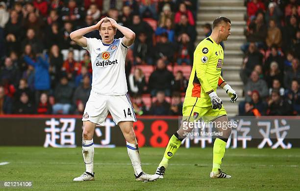 Duncan Watmore of Sunderland reacts to his side being called for offside during the Premier League match between AFC Bournemouth and Sunderland at...