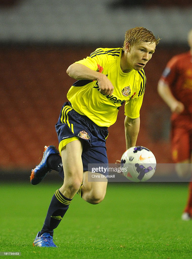 Duncan Watmore of Sunderland U21 in action during the Barclays U21s Premier League match between Liverpool U21 and Sunderland U21 at Anfield on September 17, 2013 in Liverpool, England.